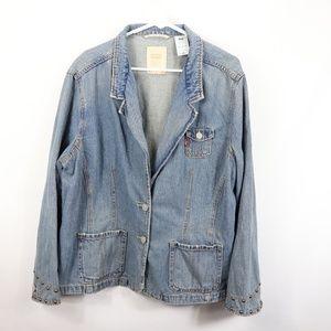Levis Womens 3x Plus Studded Denim Blazer Jacket